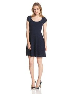 The Elsa is a feminine fit n flare sweater dress made up in super soft Texture Pointelle. #Fashion  #Amazon