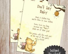 Vintage winnie the pooh baby shower invitation diy printable dont say baby baby shower game printable winnie the pooh baby shower game classic winnie the pooh baby shower game filmwisefo