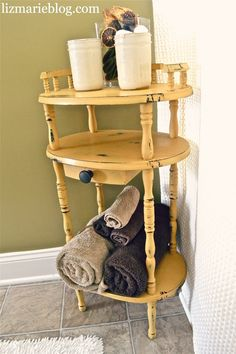 Antique bathroom stand re-do. Great for guest bathrooms to hold towels & such for guests. Color is Arles by Annie Sloan Chalk Paint.