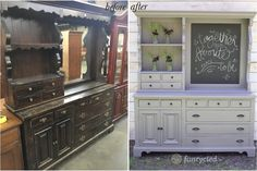 Ugly Hutch Makeover project Source by Tv Furniture, Refurbished Furniture, Repurposed Furniture, Shabby Chic Furniture, Furniture Projects, Vintage Furniture, Dresser Repurposed, Automotive Furniture, Automotive Decor