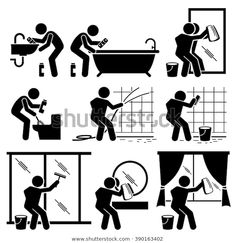 Find Man Cleaning Bathroom Toilet Windows Mirror stock images in HD and millions of other royalty-free stock photos, illustrations and vectors in the Shutterstock collection. Bathroom Toilets, Bathroom Cleaning, Cleaning Icons, Pictogram, Health And Safety, Workplace, Royalty Free Stock Photos, Illustration, Windows