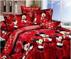 Mickey and Minnie Mouse King Queen Adults Cartoon Bedding Set Cotton Bed Sheet Linens Doona Duvet Cover/comforter Cover Sets (Red, Queen), http://www.amazon.com/dp/B00GBVSFZ4/ref=cm_sw_r_pi_awdm_lJYRub1PT0FJ5