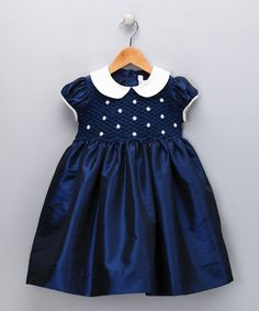 Take a look at this Navy & Ivory Daisy Smocked Dress - Infant, Toddler & Girls by Fantaisie Kids on #zulily today!