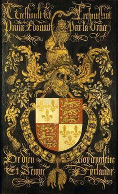 Family crest...100 years war, combination of English lions & French fleur de lys