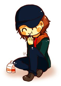 Happy little Bucky with his milk. I couldn't help it!. I had to post this! :3