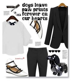 """Sammydress.com:  Dogs leave paw prints forever on our hearts"" by hamaly ❤ liked on Polyvore featuring Cuero, RED Valentino, Bobbi Brown Cosmetics, shoes, ootd, skirts, bags and sammydress"