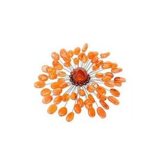 NOVICA Unique Floral Carnelian Brooch Pin (3.145 RUB) ❤ liked on Polyvore featuring jewelry, brooches, pin, carnelian, clothing & accessories, novica, pin jewelry, carnelian jewelry, sunflower jewelry and pin brooch