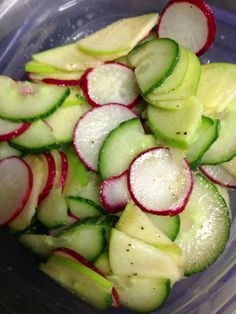 Cucumber Radish Apple Salad.  Combine in a large bowl. In a separate bowl, combine 1 tbs honey, 1 tbs olive oil, and 2 tbs lime juice. Mix with 1/4 cup fresh chopped mint. Toss the salad with dressing and enjoy! - For hCG substitute Stevia for the honey and exclude the oil.