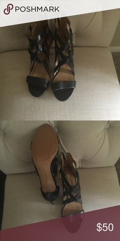 Nine West cage shoes Never worn, bought them for a wedding in Vegas and ended up in flip flops due to an accident!  Nine West Shoes Heels