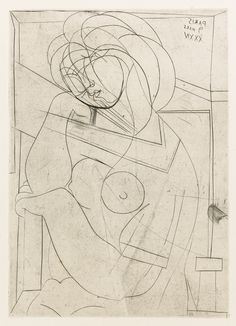 Pablo Picasso, Seated Nude Woman with Head on Hand, art-Walk Picasso Prints, Pablo Picasso Drawings, Picasso Sketches, Art Picasso, Picasso Paintings, Art Drawings, Picasso Portraits, Abstract Drawings, Watercolor Paintings