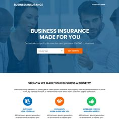professional small business insurance bootstrap landing page