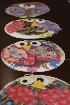 Paper Plate Owls with fabric scraps - great tactile craft for toddlers and preschoolers!