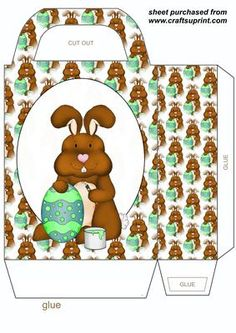 Easter bunny gift bag 2 on Craftsuprint designed by Stephen Poore - Easter bunny gift bag,you will need to print 2 sheets to make gift bag - Now available for download!