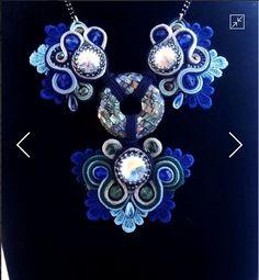 """Купить колье """"Вязь сказки"""" (сутаж) - тёмно-синий, голубой, перламутр, перламутровый кулон"""