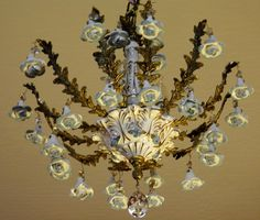 Vintage Chandelier Antique Capodimonte by LightsFantastic on Etsy, $299.00