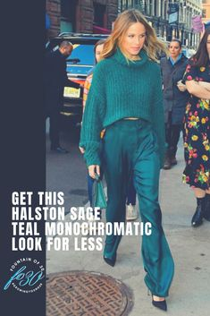 Find out where to shop and how to style this Halston Sage monochromatic teal  look for less. #over40 #fashion #celebritystyle #actress #streetstyle #fallfashion #winterfashion #over40style #lookforless