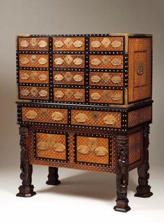 Indo-Portuguese Cabinet on Stand (Contador) Indian Furniture, Antique Furniture, Colonial Furniture, William And Mary, English Country Style, Rococo Style, 17th Century, Decorative Boxes, Antiques