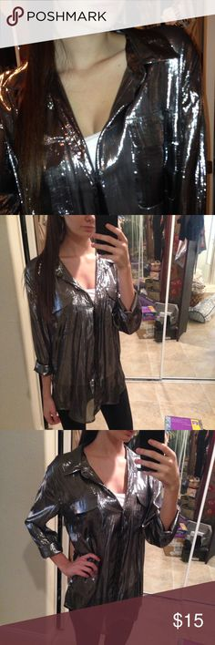 Sheer silver metallic blouse Silver metallic sheer blouse, long sleeve, size large, true to size but looks cute and over-sized on small/medium sizes. Tops Blouses