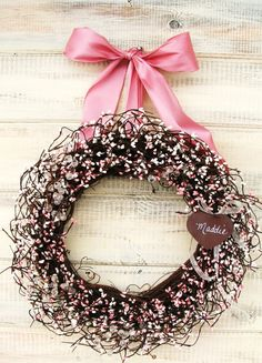 PINK BABY SHOWER Wreath-Pink & Antique White Wreath-Baby Girls Room-Nursey Decor-Personalized Wreath-Choose Scent and Ribbon by WildRidgeDesign