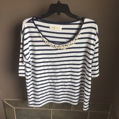 Abercrombie detailed shirt Abercrombie detailed shirt   navy blue and white   has pearls for details  size large   no trading   fast shipping Abercrombie & Fitch Tops