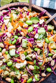 Thai Quinoa Salad with carrots, edamame, red cabbage, cucumbers, peanuts. You are in the right place about veggie Salad Recipe … Edamame Salad, Kale Quinoa Salad, Quinoa Salad Recipes, Veggie Recipes, Vegetarian Recipes, Healthy Recipes, Avocado Recipes, Veggie Food, Quinoa Food