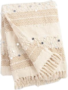 Ivory Moroccan Style Wedding Blanket Throw: White - Cotton by World Market for sale online Moroccan Decor Living Room, Moroccan Style Bedroom, Moroccan Furniture, Furniture Decor, Bedroom Furniture, Moroccan Wedding Blanket, Textiles, Big Girl Rooms, World Market