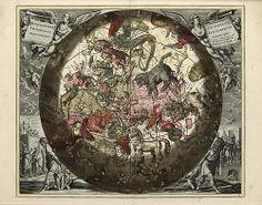 Cellarius' Hæmisphærium Stellatvm Boreale cvm Subiecto Hæmisphærio Terrestri, 1708