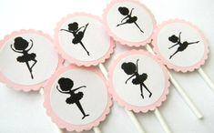 12 silueta bailarina Cupcake Toppers por thepartypenguin en Etsy