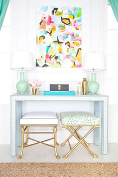 13 Kate Spade New York-Inspired Decor Ideas for Your Living Room via Brit + Co ----- Love those lamps!