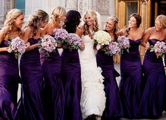 Mermaid Satin Purple Bridesmaid Dress,Strapless Long Bridesmaid Dress,Purple Wedding Party Dress