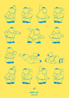 """""""Pulp Fiction"""" Dancing Plague of 1518 is a series of illustrations by Brazilian artist Niege Borges showing famous dance steps from television shows and Family Man, Family Guy Quotes, Peter Griffin, Napoleon Dynamite, Monty Python, Beetlejuice, Dad Dancing, Famous Cartoons, Dance Routines"""