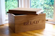 Click here for engraved wooden bread bin with bread board from MakeMeSomethingSpecial - makers of the finest personalised wooden gifts handmade in the UK
