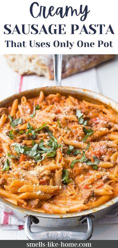 One Pot Creamy Sausage Pasta – an irresistible and super simple one-pot pasta dish filled with spicy sausage and a silky tomato cream sauce. Try it today for an easy, delicious supper that your family will love. Creamy Sausage Pasta, Sausage Pasta Recipes, Pasta Dinner Recipes, Chicken Pasta Recipes, Healthy Pasta Recipes, Lunch Recipes, Spicy Sausage, Quick Weeknight Dinners, Homemade Pasta