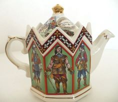 "Sadler Porcelain Tea Pot Kettle Charles I King of England #4542. Made in England Very Good Pre-owned Condition. No Chips. No Cracks. Gorgeous Colors. Beautifully Decorative Porcelain Tea Kettle. Depicts Charles I King of England 1600-1649, A Musketeer, A Royalist Drummer, A Pikeman, A Roundhead, & A Lieutenant General Cromwell. Depicts Civil War Battle on Lid Top 1642-1651. Name & Logo on Bottom. Manufacture Markings on Bottom.  ~ 6 1/4"" x 7 1/4""  x 4 1/4"" Deep. $50.00"