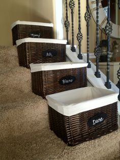 Organzing with Baskets on Stairs or a special section of the house..Everyone..take your stuff and save it.