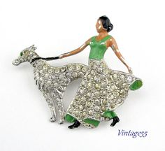 Brooch Lady walking the Dog Art Deco Rhinestone by Vintage55