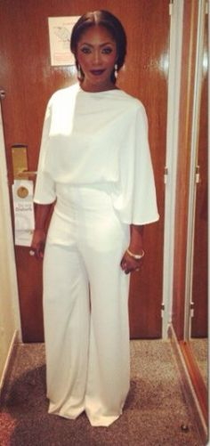 Tiwa Savage's All White Jumpsuit To Dionne Warwick Sister Sledge Cocert Last Night @Elizabeth Otto Hotel