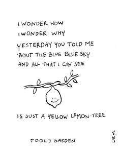 Fool's Garden. Lemon Tree. 365 illustrated lyrics project, Brigitte Liem.