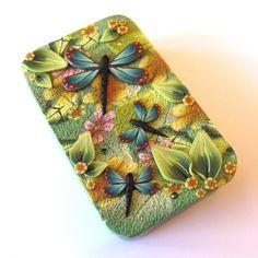 Dragonfly Garden Needle Case Slide Top Tin. $16.00, via Etsy, Clay by Kim