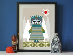Vintage inspired King Scandi A3 print Vintage Mid-century style print £12.00