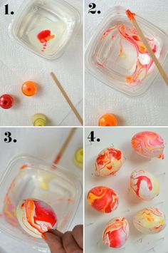 Quick and easy marbled eggs. 1. Put a few drops of nail polish onto the surface of the water. 2. Stir gently. 3. Roll the egg in the polish 4. Set on drying rack