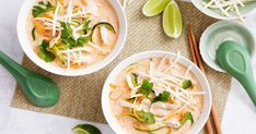 For a quick and easy meal, try this flavour-packed coconut and zucchini chicken noodle soup.