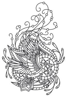 The Latest Trend in Embroidery – Embroidery on Paper - Embroidery Patterns Coloring Pages To Print, Coloring Book Pages, Raven Images, Mandalas Drawing, Zentangles, Urban Threads, Transfer Paper, Embroidery Patterns, Paper Embroidery