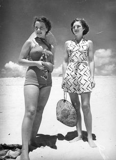 Young women enjoying a day at the beach at Southport, 1940
