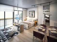 Small Studio Apartment Layout Design Ideas - home design One Room Apartment, Studio Apartment Layout, Small Apartment Interior, Modern Apartment Decor, Small Apartment Design, Studio Apartment Decorating, Apartment Ideas, Studio Layout, Studio Apartment Living