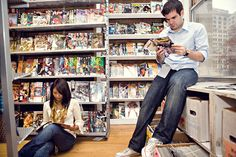 Comic Book Store Engagement Photo Book Shops, Engagement Pictures, Picture Ideas, Wedding Stuff, Comic Books, Comics, Store, Shopping, Engagement Photos