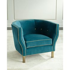 Perrie Chair (68.340 RUB) ❤ liked on Polyvore featuring home, furniture, chairs, accent chairs, teal, teal blue accent chair, handmade furniture, teal furniture, tufted chair and pipe furniture