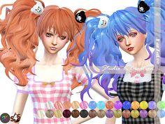 Sims 4 Hairs ~ Studio K Creation: Animate hair 56 -Junko for her Sims 4 Cc Skin, Sims Cc, Sims 4 Anime, Kawaii Hairstyles, Long Hairstyles, Sims 4 Cc Makeup, Sims4 Clothes, Sims 4 Characters, Sims 4 Cc Packs