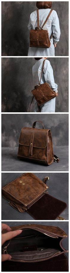 430514a3cfac3 Handmade Women Leather Backpack Leather Fashion Bag Vintage Backpack  College Students School Bag Leather Goods For