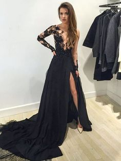 Black Scoop Neck Tulle Court Train Split Front Long Sleeve Prom Dress £91.29